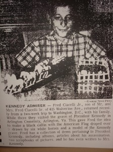 Newspaper Article from 1966 featuring F. Nicholas Ciacelli and his family's trip to Washington DC and President Kennedy's grave in Arlington National Cemetery.